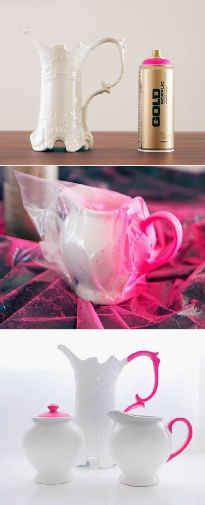 weiße kanne aus porzellan mit rosa spray verzieren