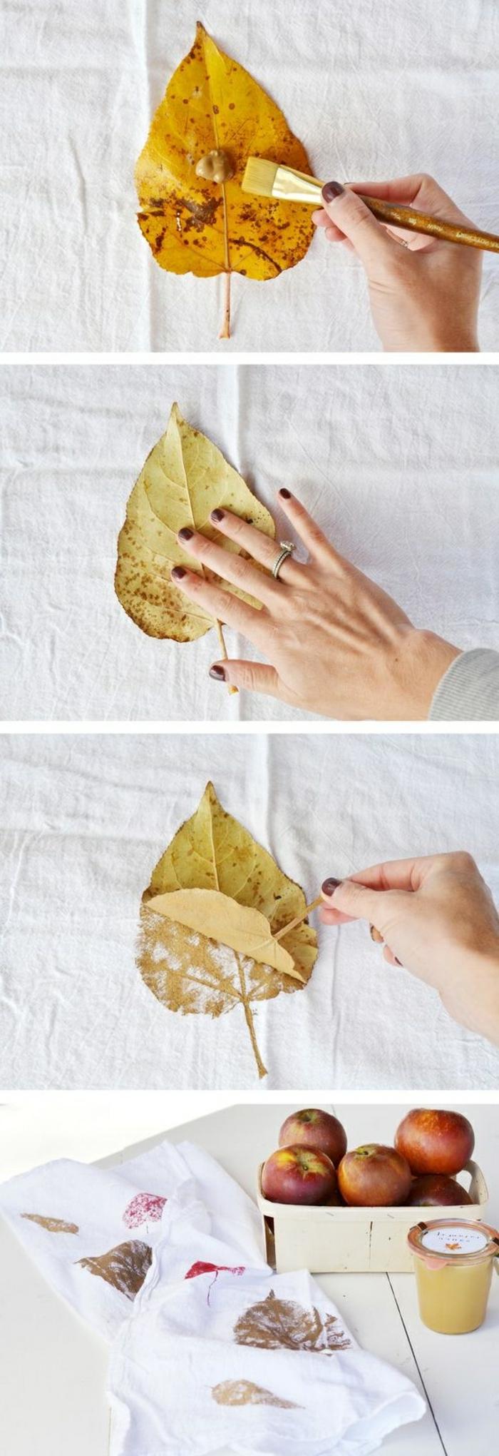 basteln mir blättern, stempel aus baumblatt machen, äpfel, weißer stoff