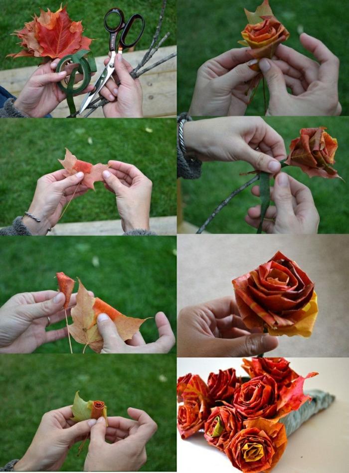 rosen aus baumblättern selber machen, schere, klebeband, blumenstrauß