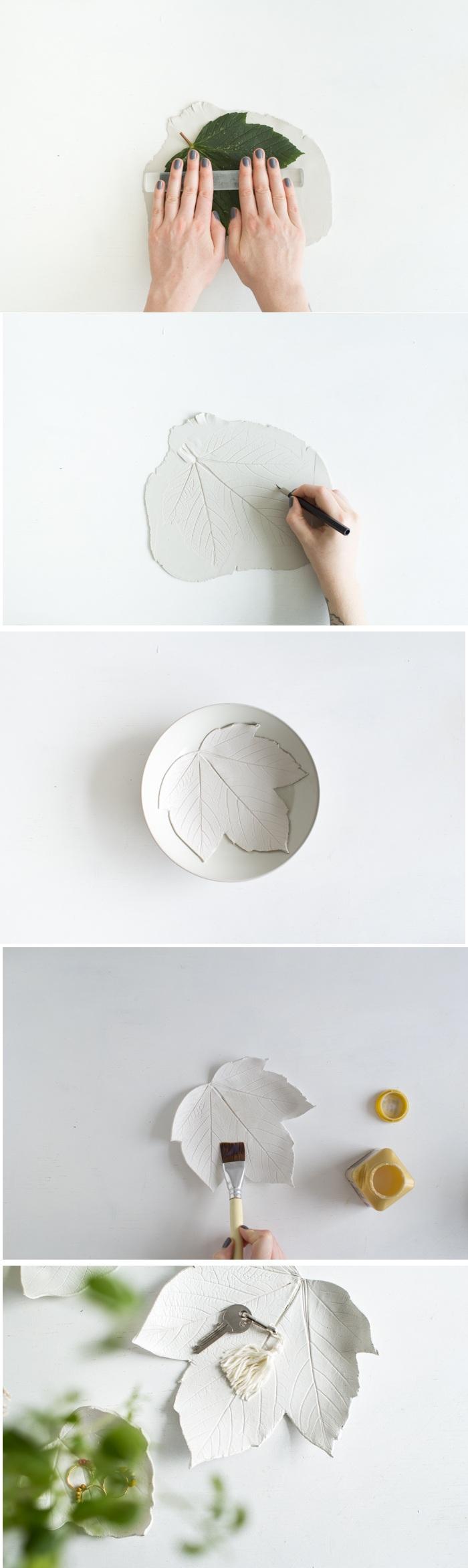 diy schale in form von baumblatt selber machen, schüssel, pinsel
