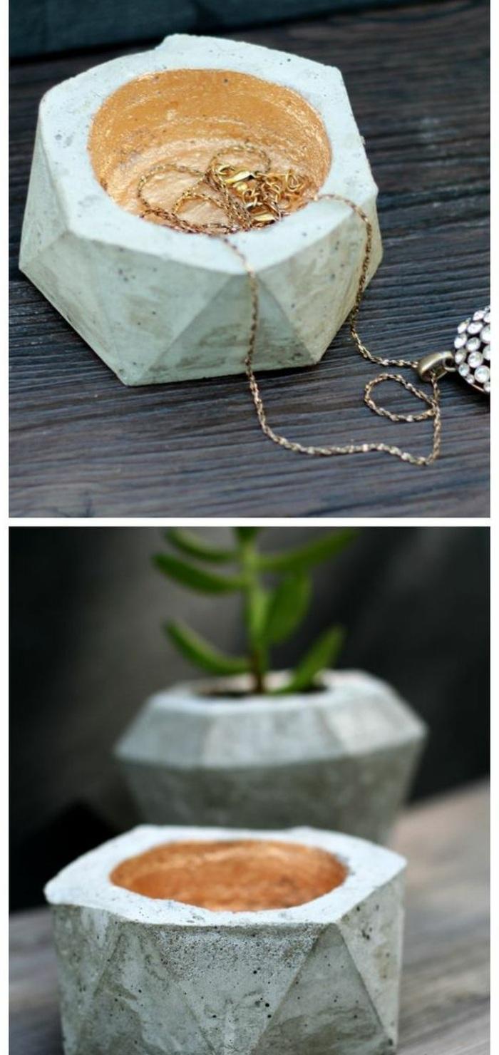 basteln mit beton - schmuckbox, goldene halskette, pflanze