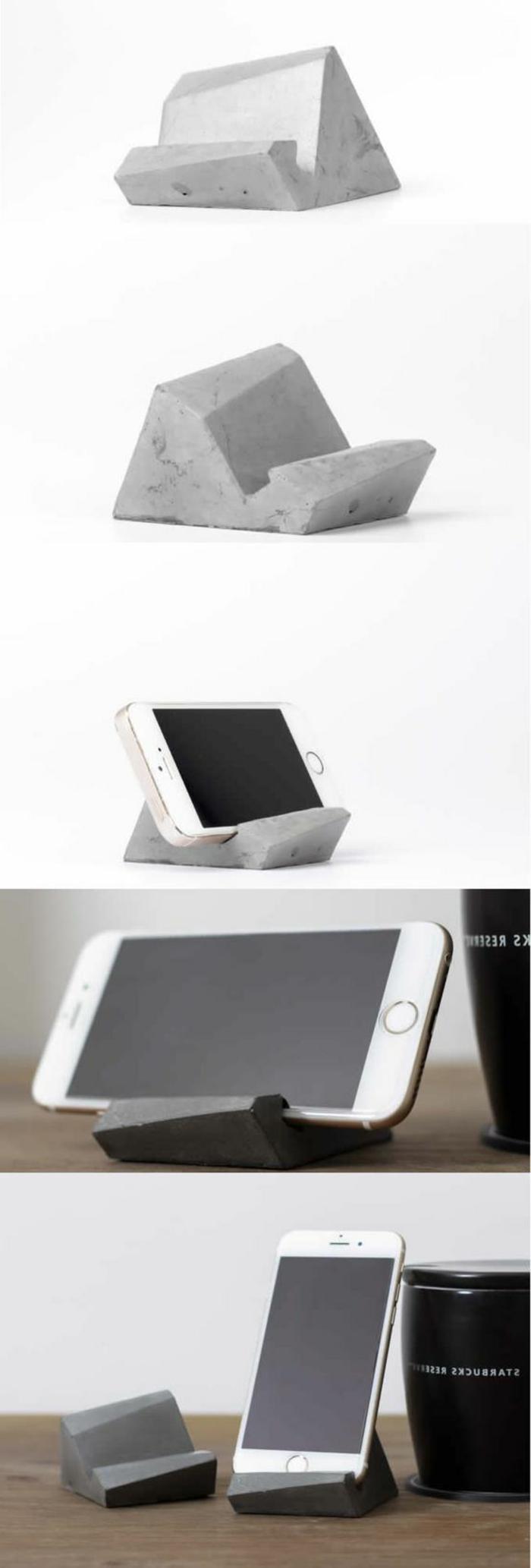 handy, selbstgemachter handygestell aus zement, basteln mit beton