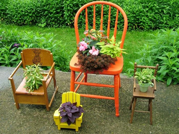 blumentöpfe selbst gestalten dekoration ideen stühle in dekorartikel verwandeln gelb orange garten