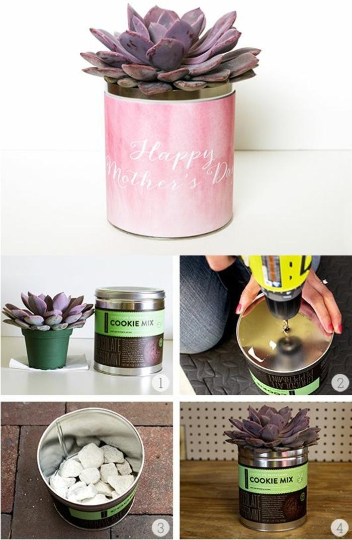 blumentöpfe selbst gestalten ideen für den garten rosa dose schöne lila blume bohrmaschine geschenkidee