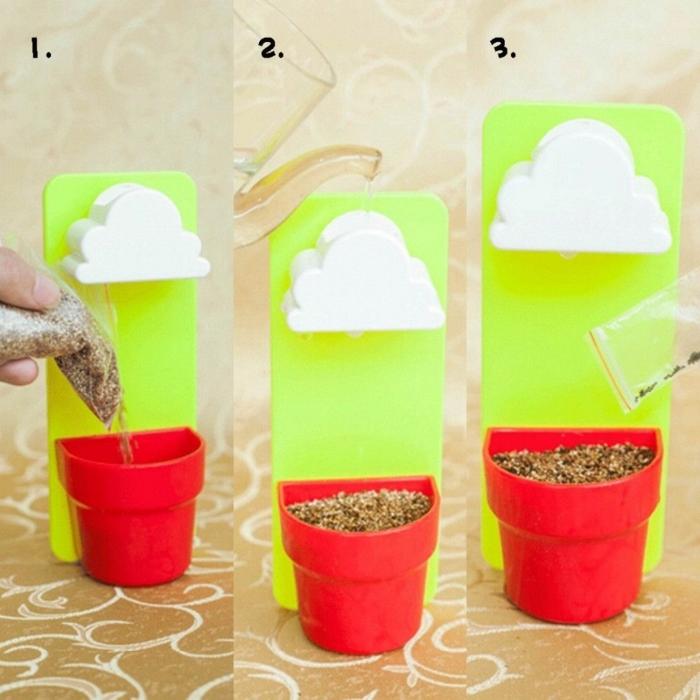 blumentöpfe selbst gestalten tolle idee geschenkidee blumentopf mit wolken darüber zum besseren gießen