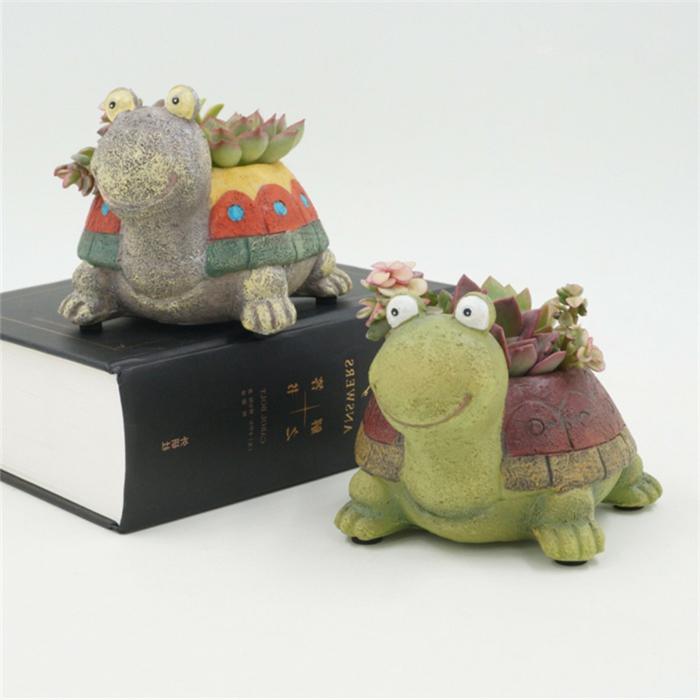 blumentöpfe selbst gestalten schildkröten blumentopf ideen bunte idee selber keramik figuren bemalen