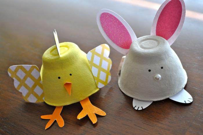 Küken und Osterhase mit Papier und Eierschachtel basteln - gelb und grau