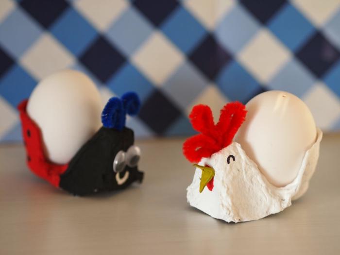 Hahn und Marienkäfer aus Teile der Eierkarton - Basteln zu Ostern