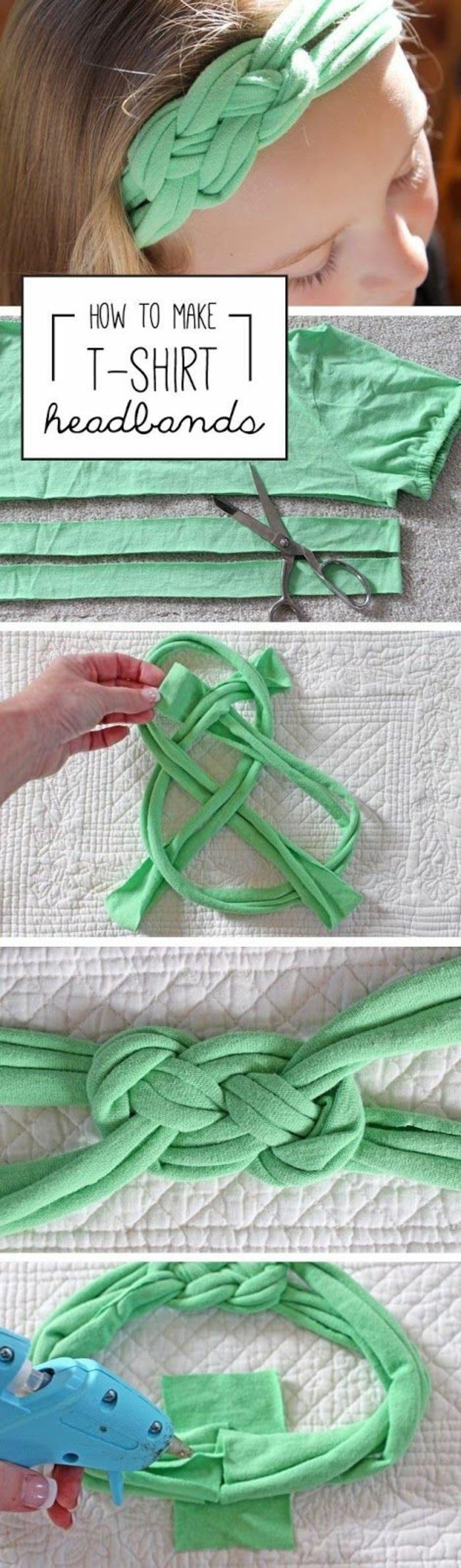 kopfband aus grünem stoff selber machen, heißklebepistole, kleines mädchen