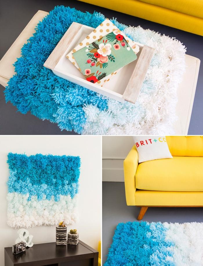 pompom teppich selber machen aus garb, grauer sofa, hefte, wanddeko