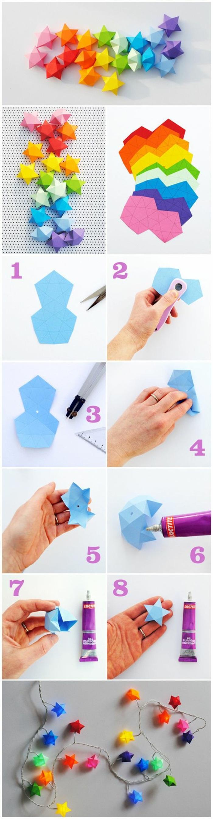 girlande selber machen, sterne aus buntem papier falten, kleber