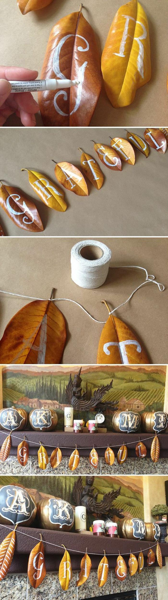 basteln mit naturmaterialien, getrocknete baumblätter mit weißem marker bemalen, kordel, girlande, herbstdeko