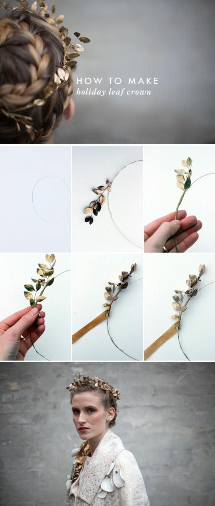 basteln mit naturmaterialien, kranz, krone aus goldenen baumblättern machen, frau, kopfschmuck