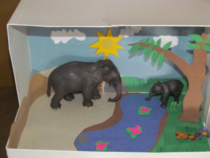 zwei Elefanten gehen Wasser trinken unter Baum - Basteln mit Karton