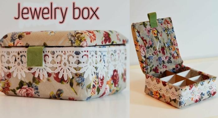 Schmuckkästchen aus Schuhkarton mit Spitze und Rosen Muster - Basteln mit Karton