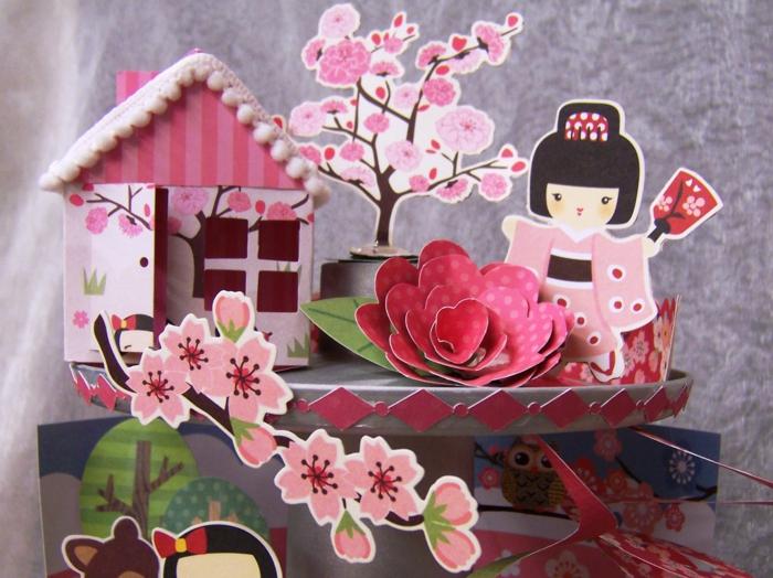 eine rosa Komposition aus Japanischen Kirschblüten, Mädchen mit Kimono und Häuschen - Basteln mit Karton