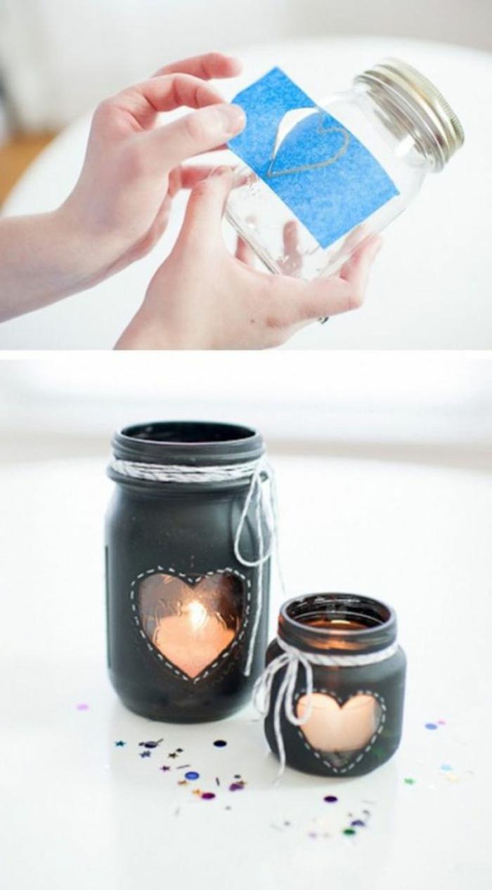 teelichter basteln - einmachgläser mit schwarze farbe färben, kerzen herze