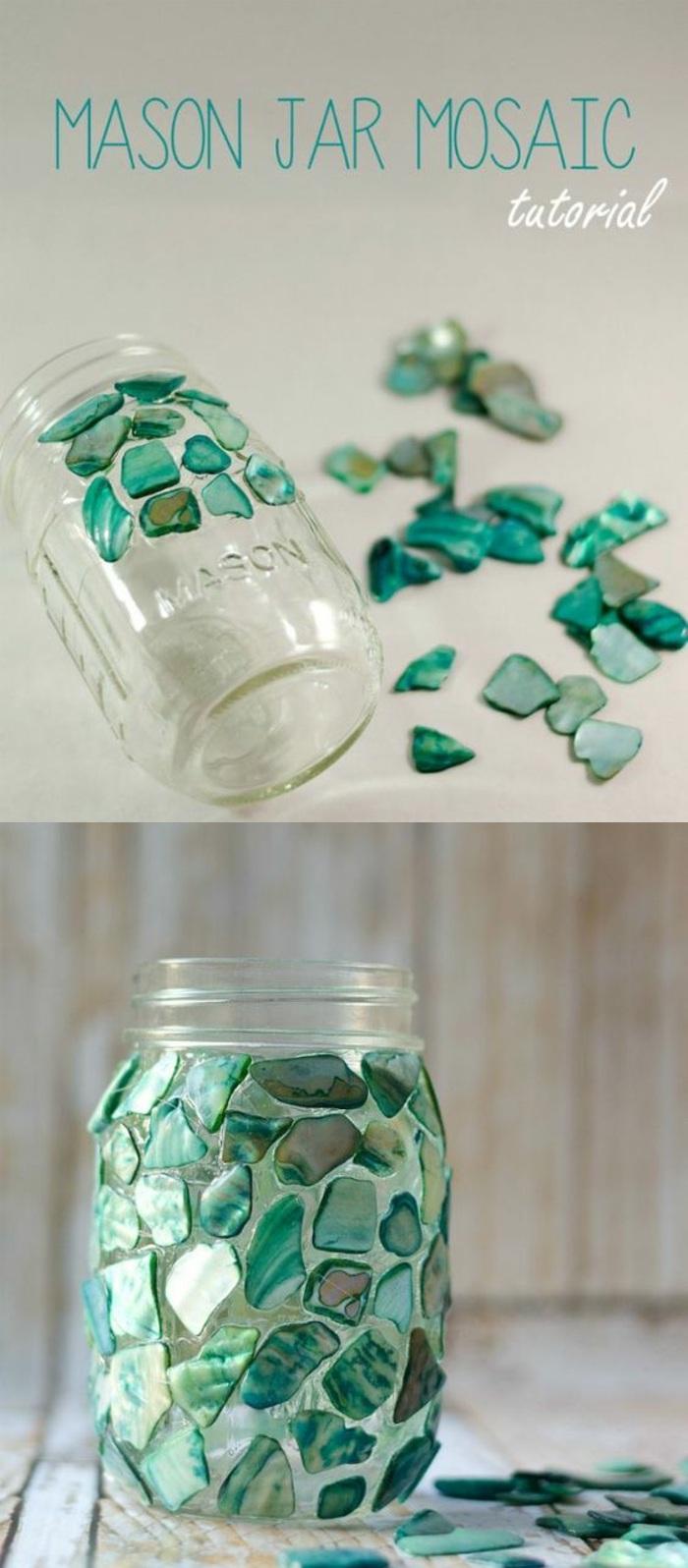 teelichter basteln, einmachglas mit grünen strasssteinchen dekorieren