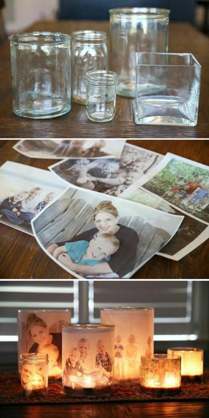 gläser mit familienfotos verzieren, diy deko mit kerzen
