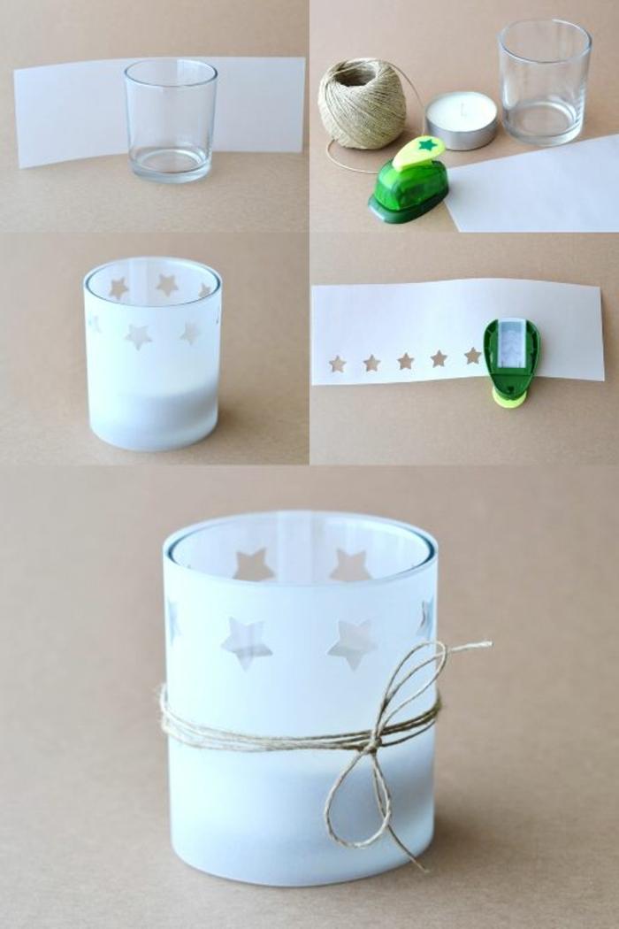 teelichter basteln, glasvase mit weißem papier verzieren, sterne, faden