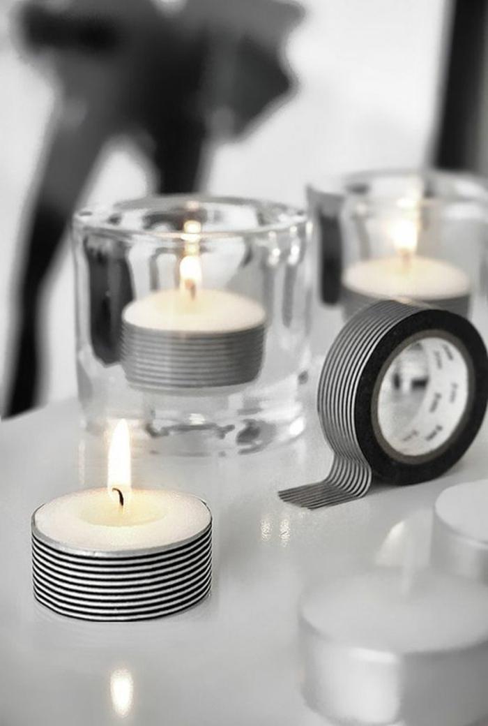 teelichter basteln, glas, kerzen mit washi tapes verzieren