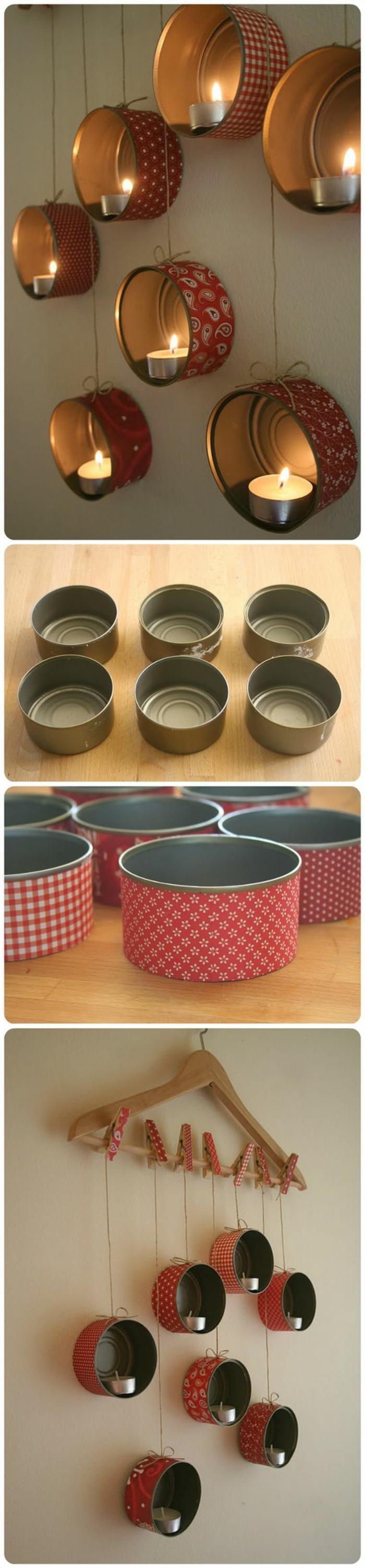 teelichter basteln aus kleinen konservendosen und washi tape