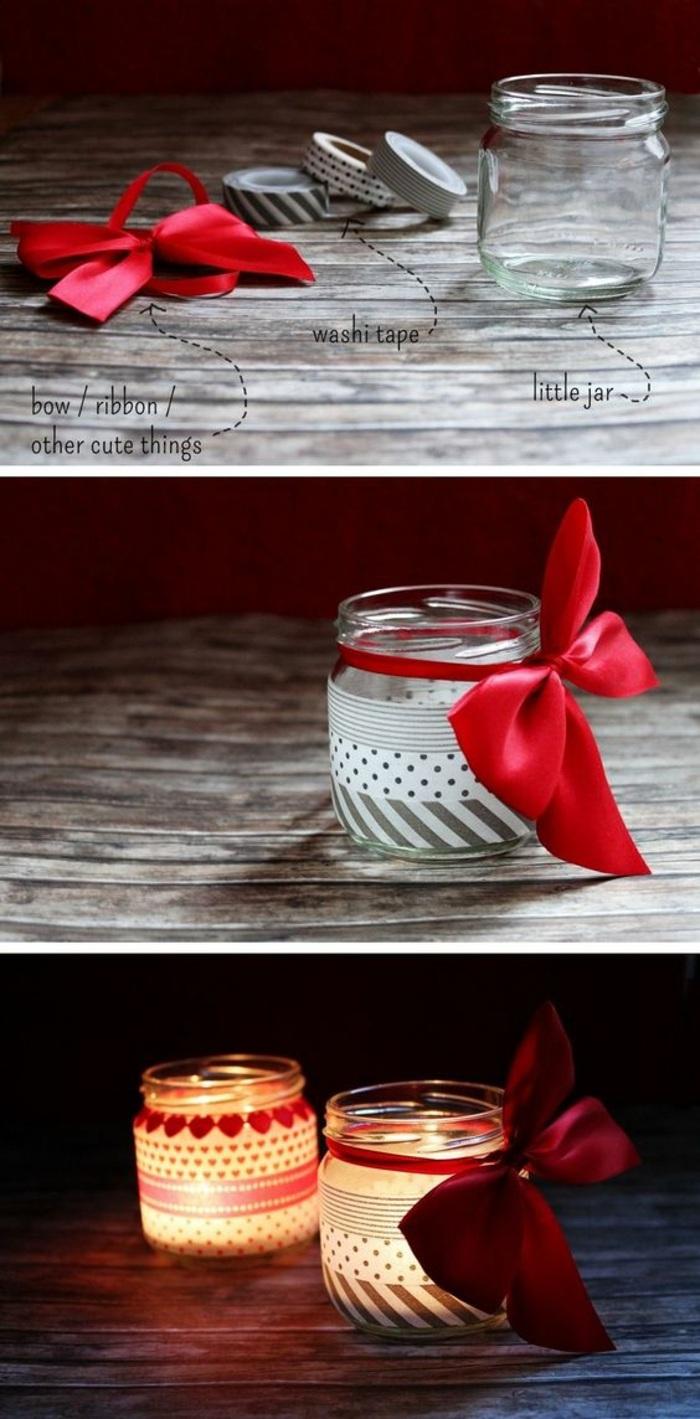 teelichter basteln, marmeladenglas, washi tapes, rote schleife