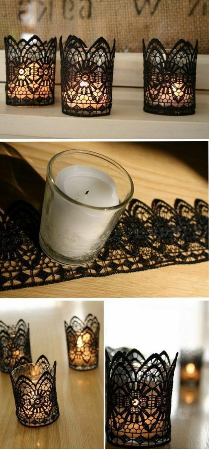 teelichter basteln, glas, schwarze spitze, weiße kerze