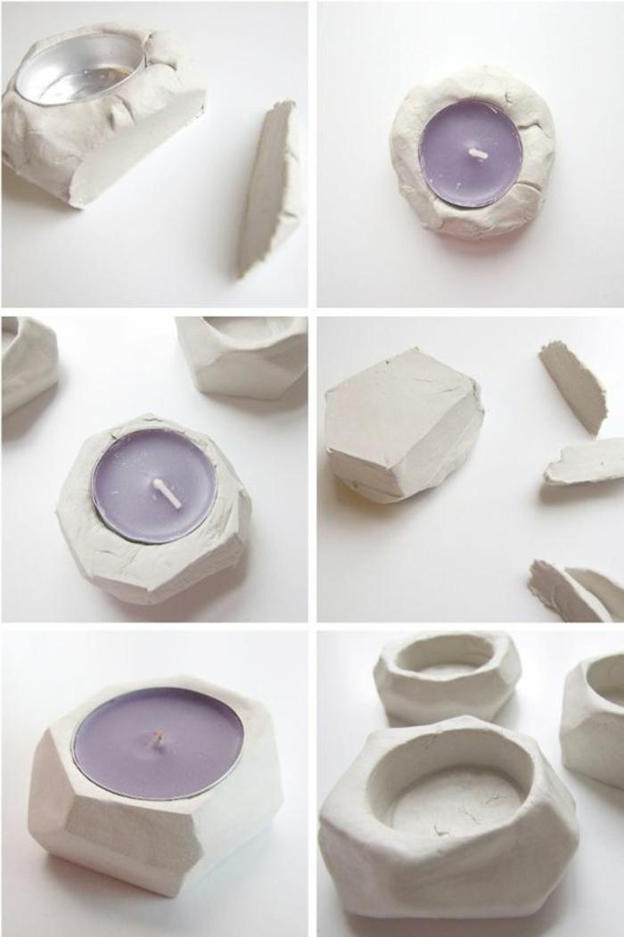diy teelichter mit geometrischen figuren selber machen, lila kerze