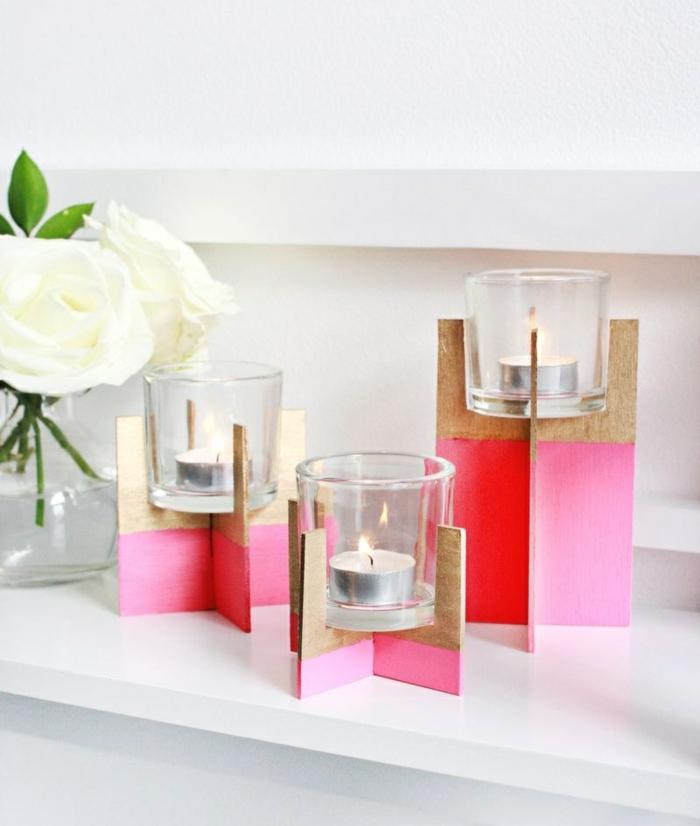 teelichter basteln, teelichthalter aus holz, dekoriert mit rosa farbe