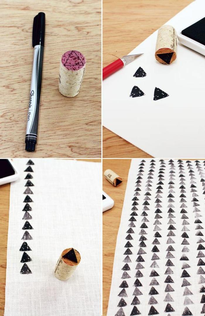 basteln mit weinkorken, stempel selber machen, schwarzes farbstift, weißer stoff, dreiecke