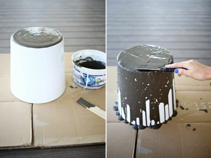 diy deko - eimer, spachtel, beton gießen, vase