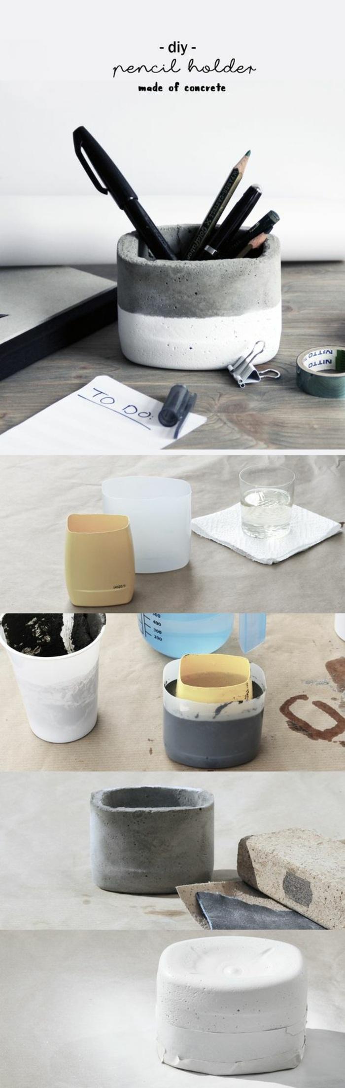 diy stiftenhalter aus zement, bleistifte, kugelschreiber, blatt, glas mit wasser