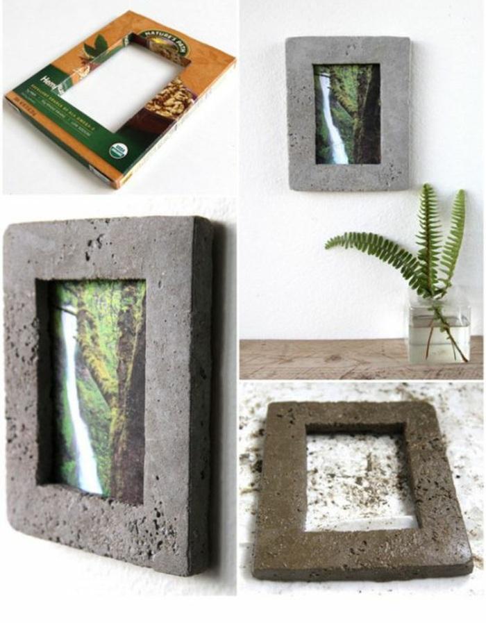 bilderrahmen selber machen aus zement, glasvase, wanddeko, papier