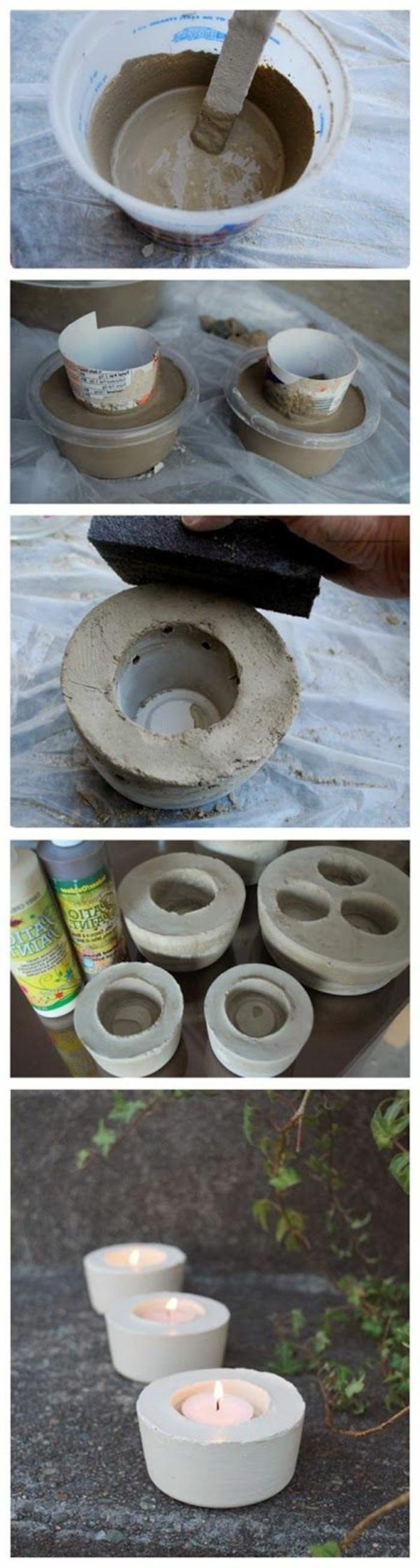 teelichter basteln - diy teelichthalter aus zement selber machen