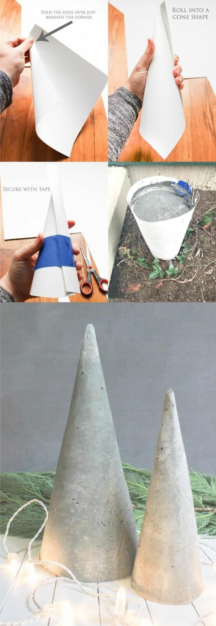 tüte aus papier machen, beton gießen, betontüten, gartendeko