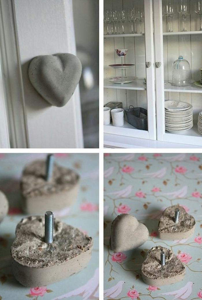 diy deko aus zement, betonherzen mit winkel, küche, schrank, gläser, teller
