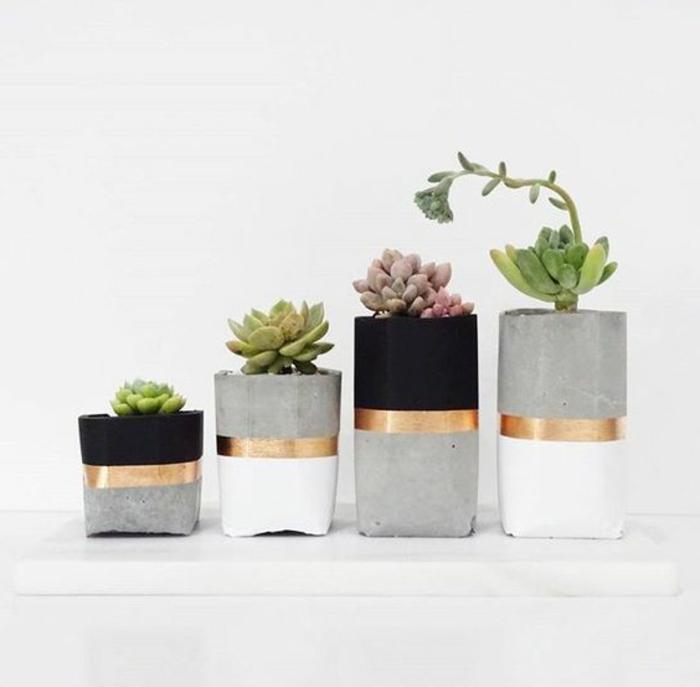 baton deko - diy blumentöpfe in verschiedenen größen, pflanzen