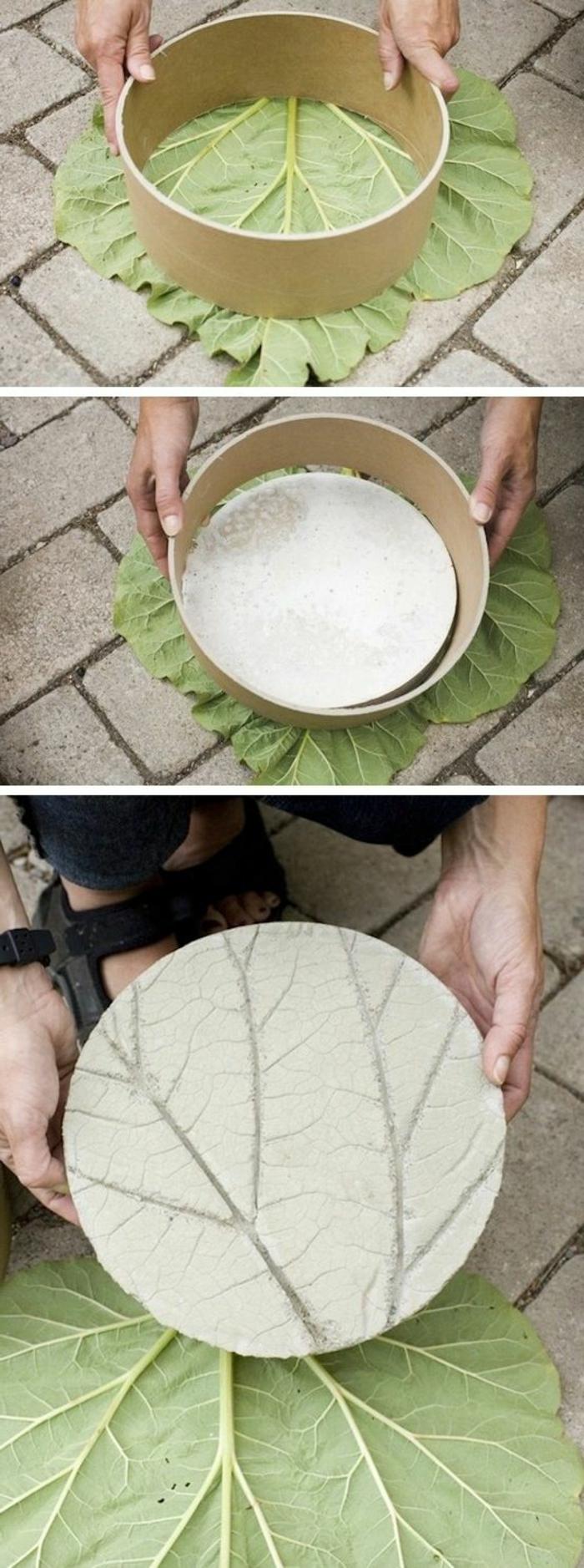 baton deko - diy gartendeko aus zement mit großem baumblatt dekorieren