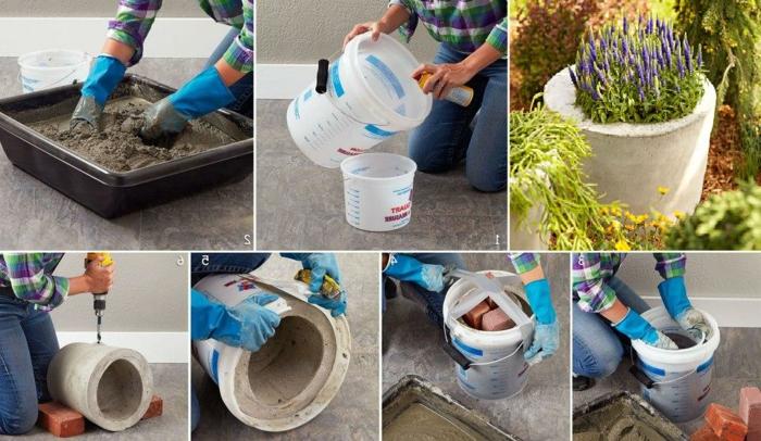 beton gießen - blumentopf aus zement, handschuhe, eimer, blumen