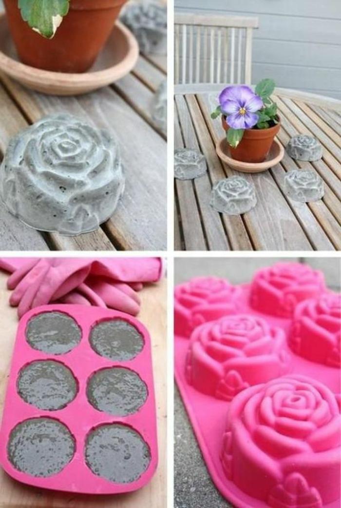 baton deko - gartendeko, rosen aus zement, rosa backform