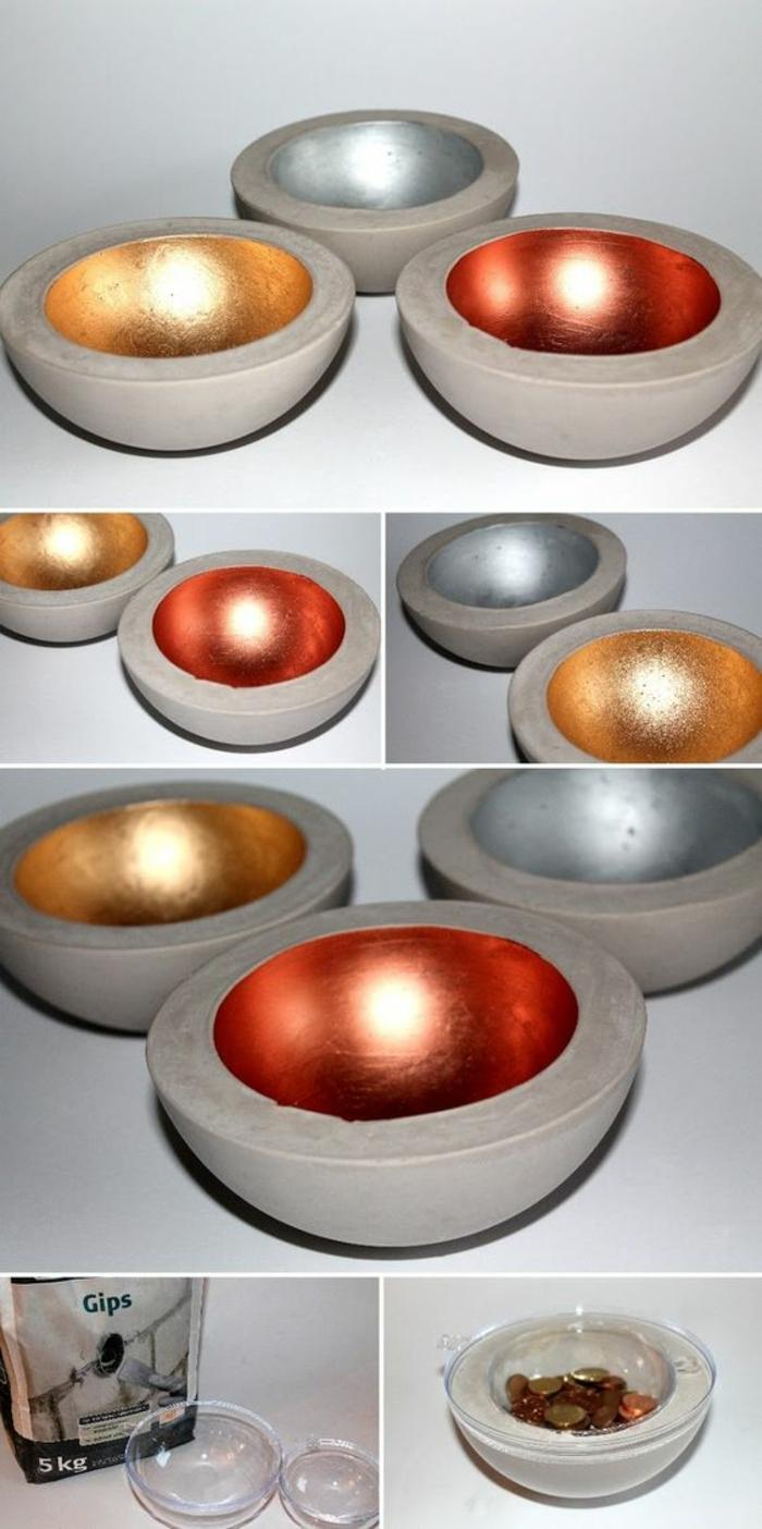betonschalen dekoriert mit farbe, plastischalen, münzen