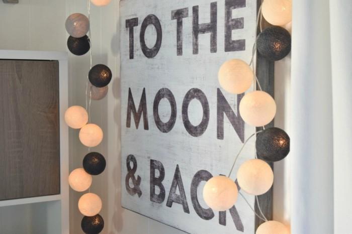 babyzimmer junge, design ideen zum dekorieren, zum mond und zurück, kleine leuchten in schwarz und weiß