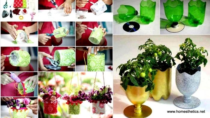 blumentöpfe verschönern tolle ideen golden silbern tassee glas aus plastik flasche selber machen topf gestalten