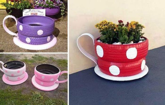 blumentopf übertöpfe selber machen dekoideen aus gummi gepunktetes design rosa rot lila dekoration