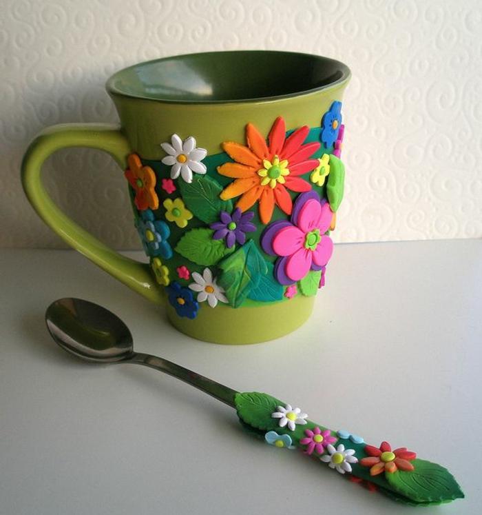 blumentopf übertöpfe selber machen löffel und tasse als topf und anpflanze instrument verwenden idee