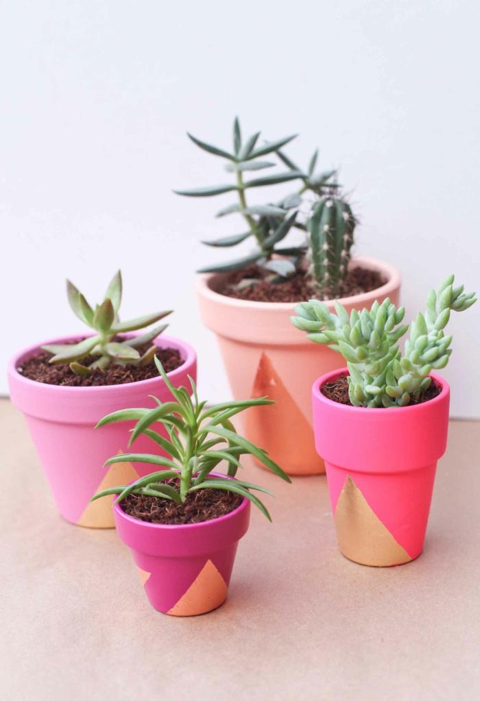 blumentöpfe blumentopf basteln dekoideen in rosa und orange tolle anpflanzungsideen kleine und große töpfe