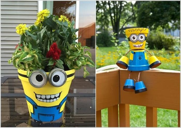 blumenkübel bepflanzen ideen bilder minions gelbes design pflanze selber gestalten dekoideen lächelnder topf