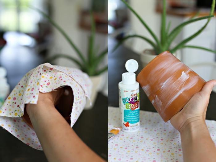 blumenkübel bepflanzen ideen bilder anleitung wie man einen topf mit stoff aufkleben und dekorieren kann