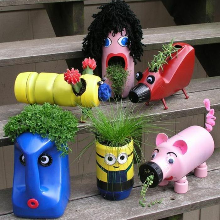 blumenkübel bepflanzen ideen bilder bastelideen zum entnehmen lustig und toll schwein minion und andere